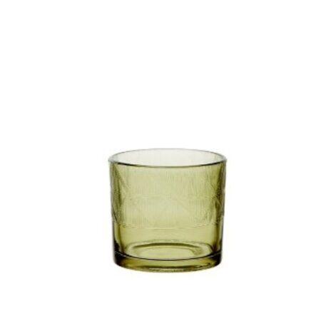 Ljuslykta glas grön Fiona liten