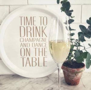 Bricka rund Time to drink champagne - guld 2