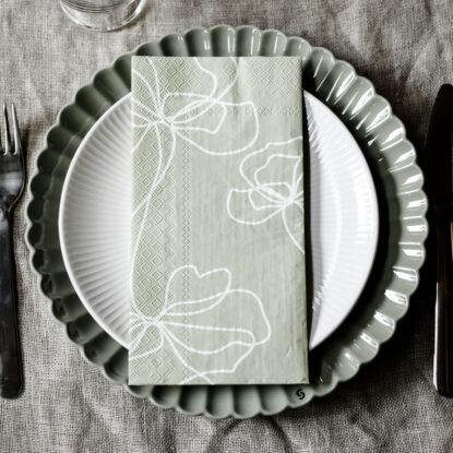 Storefactory Servett Bjuda blomma grön 2