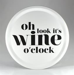 Bricka It's wine o'clock vit svart