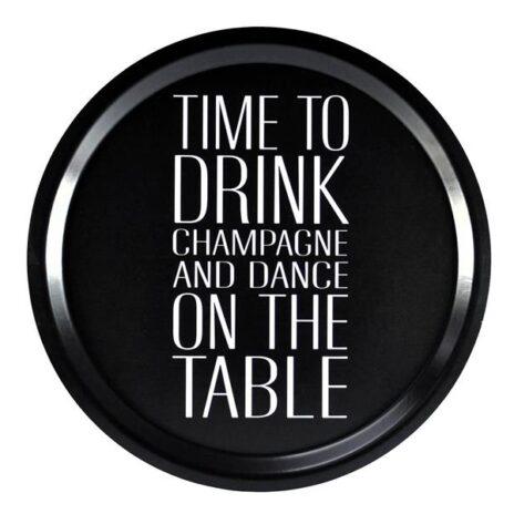 Bricka Time to drink champagne svart