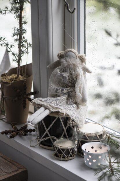 Ib Laursen Ängel Clara vit spets storblomma stor
